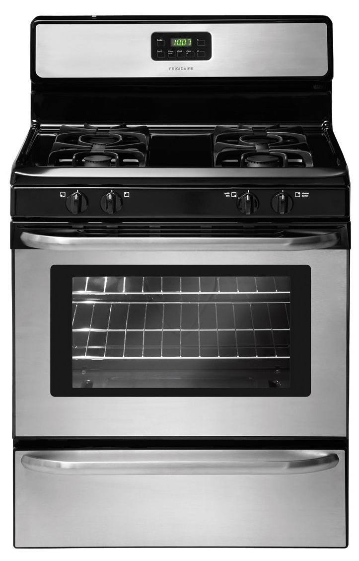 Frigidaire stainless freestanding gas range ffgf3047ls for Abt appliances