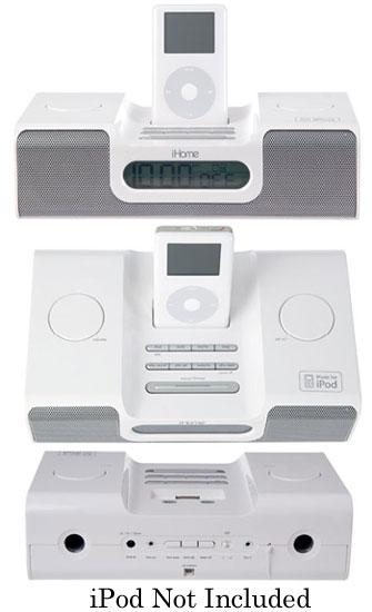 iHome White Clock Radio For iPod - IH5