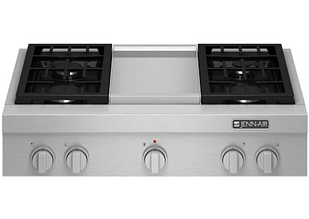 "Jenn-Air 36"" Stainless Steel Pro-Style Gas Rangetop With Griddle - JGCP536WP"