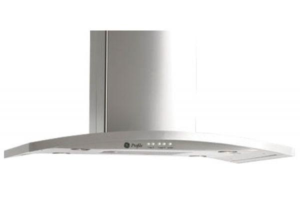 "Large image of GE Profile 36"" Stainless Steel Designer Island Hood - PV977NSS"
