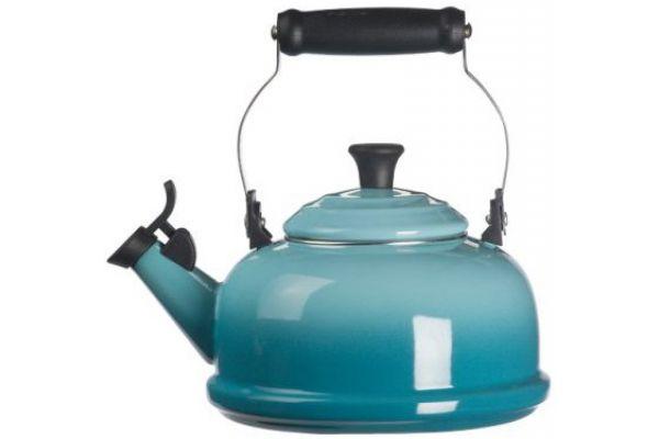 Large image of Le Creuset 1.7 QT. Caribbean Blue Whistling Teakettle - Q3101-17