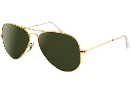 Ray-Ban Gold Frame Black Lens Aviator  Unisex Sunglasses - RB3025 L0205 58