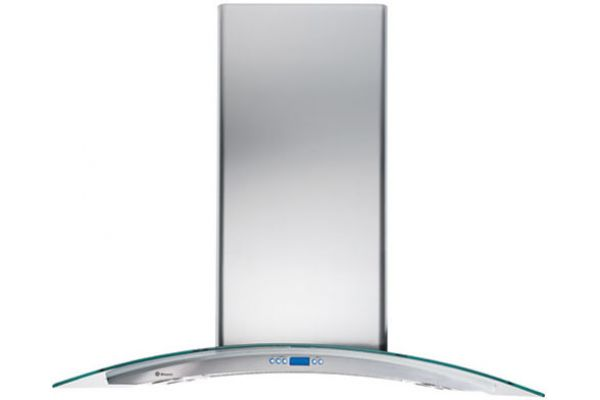 "Large image of Monogram 36"" Glass Canopy Island Hood - Stainless Steel Finish - ZV925SLSS"