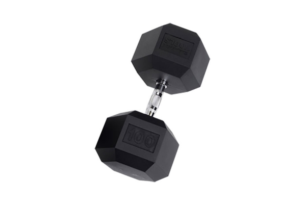 Large image of Body-Solid 100 lb Rubber Coated Hex Dumbbell (Each) - SDR100
