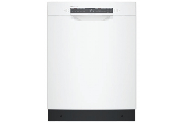 """Large image of Bosch ADA 24"""" 300 Series White Recessed Handle Dishwasher - SGE53B52UC"""