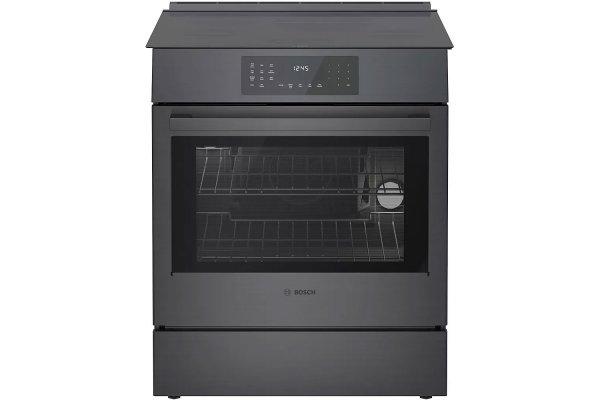 "Large image of Bosch 30"" 800 Series Black Stainless Steel Induction Slide-In Range - HII8046U"