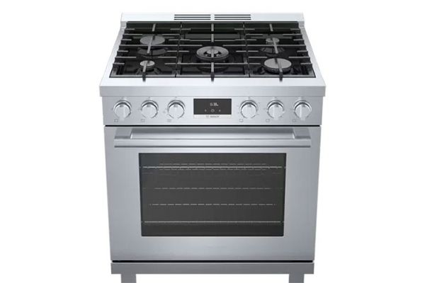 "Large image of Bosch 30"" Stainless Steel Industrial-Style Gas Range - HGS8055UC"