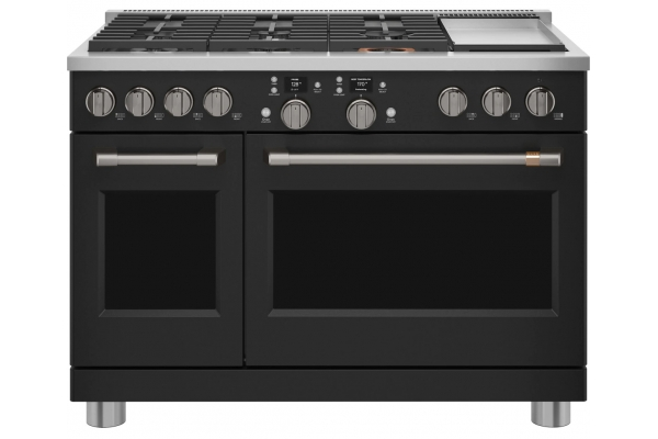 """Large image of Cafe 48"""" Matte Black Smart Dual-Fuel Commercial-Style Range with 6 Burners and Griddle - C2Y486P3TD1"""