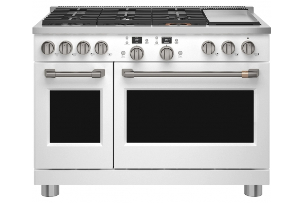 "Large image of Cafe 48"" Matte White Smart Dual-Fuel Commercial-Style Range with 6 Burners and Griddle - C2Y486P4TW2"