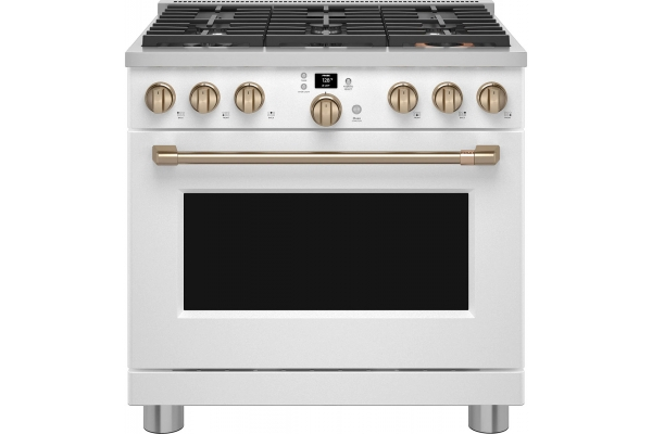 """Large image of Cafe 36"""" Matte White Smart Commercial-Style Gas Range With 6 Burners - CGY366P4TW2"""