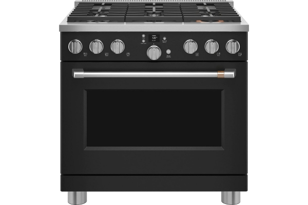 """Large image of Cafe 36"""" Matte Black Smart Dual-Fuel Commercial-Style Natural Gas Range With 6 Burners - C2Y366P3TD1"""