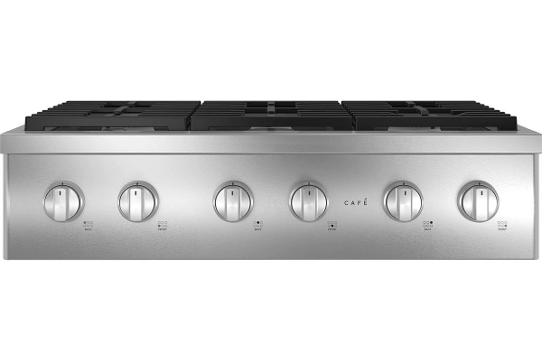 """Large image of Cafe 36"""" Stainless Steel Commercial-Style Natural Gas Rangetop With 6 Burners - CGU366P2TS1"""