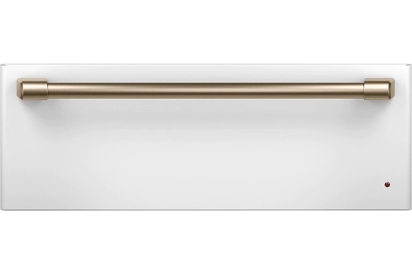 "Large image of Cafe 30"" Matte White With Brushed Bronze Warming Drawer - CTW900P4PW2"