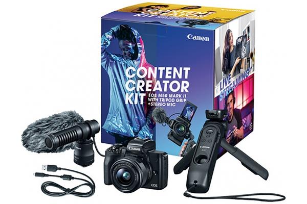 Large image of Canon EOS M50 Mark II Mirrorless Camera Content Creator Kit - 4728C052