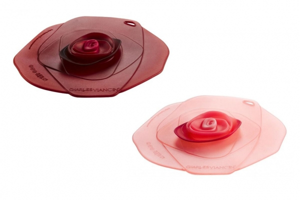 """Large image of Charles Viancin 4"""" Set of 2 Rose Air-Tight Silicone Drink Covers - 1505CH"""