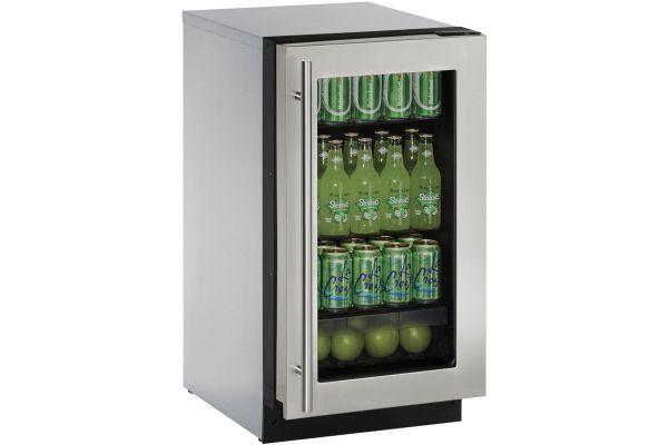 "Large image of U-Line 18"" Stainless Steel Frame Glass Door Compact Refrigerator - U-2218RGLS-00B"
