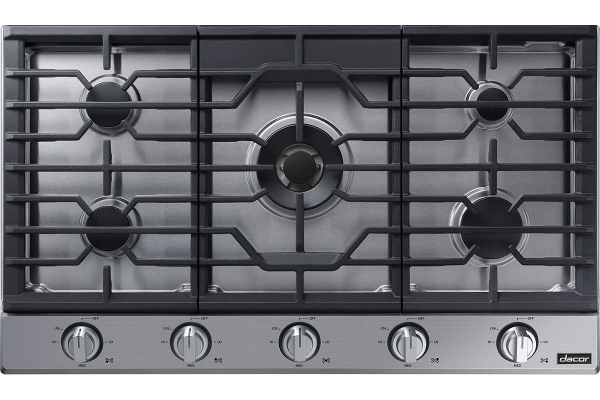 """Large image of Dacor Transitional 36"""" Stainless Steel Natural Gas Cooktop - DTG36P875NS/DA"""