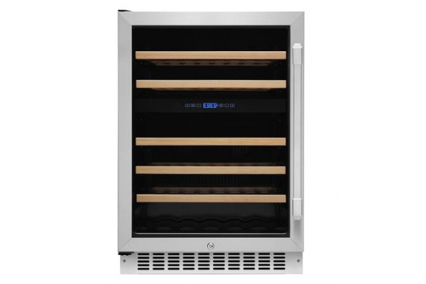 """Large image of Dacor Professional 24"""" Stainless Frame Left-Hinge Dual Zone Undercounter Wine Cellar - HWC242L"""