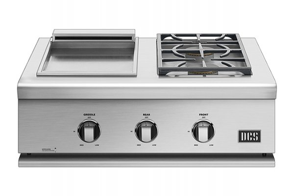 """Large image of DCS 30"""" Liberty Stainless Steel Double Sideburner And Griddle - BFGC-30BGD-L"""