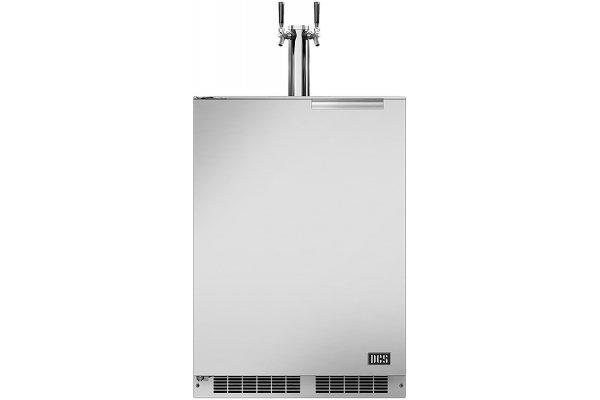 "Large image of DCS 24"" Stainless Steel Left-Hinge Dual Tap Outdoor Beer Dispenser - RF24BTL1"