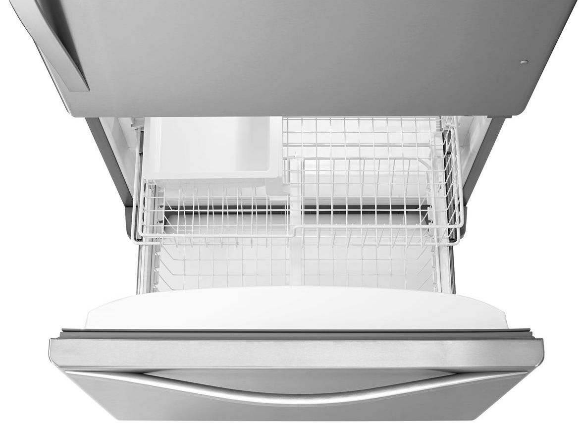 Whirlpool White Ice Bottom Freezer - Main image angled view freezer