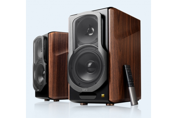 Large image of Edifier S2000 Brown/Black Powered Bluetooth Bookshelf Speakers (Pair) - S2000MKIII