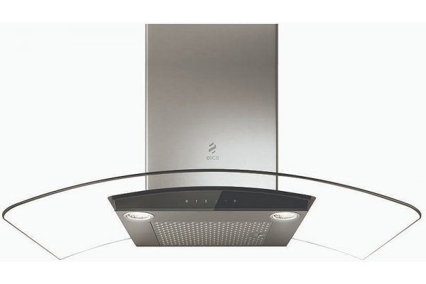 "Large image of Elica Como 36"" Stainless Steel & Black Glass Range Hood - ECM636S3"