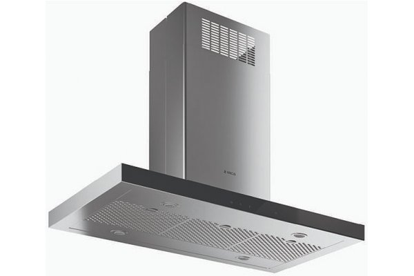 """Large image of Elica Maggiore 36"""" Stainless Steel With Black Glass Island Hood - EMG636S1"""