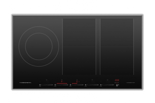 """Large image of Fisher & Paykel 36"""" Ceramic Glass & Stainless Steel Trim Induction Cooktop w/ SmartZone - CI365PTX4"""