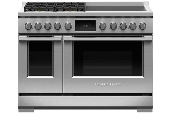 "Large image of Fisher & Paykel 48"" Stainless Steel Dual Fuel Range, 4 Burners, 4 Induction Zones, Self-Cleaning - RHV3-484-N"