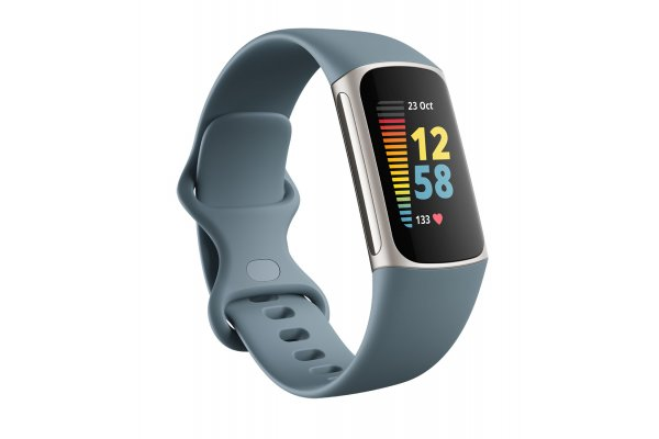 Large image of Fitbit Charge 5 Steel Blue/Platinum Stainless Steel Advanced Fitness Tracker - FB421SRBU