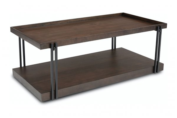 Large image of Flexsteel Prairie Rectangular Coffee Table With Casters - W1011-0311