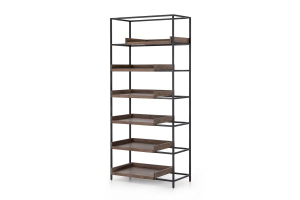 Large image of Four Hands Haiden Collection Rachelle Smoked Acacia Bookshelf - 225031-001