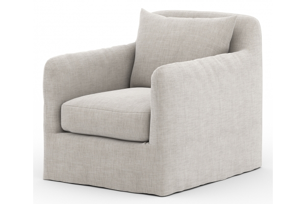 Large image of Four Hands Solano Collection Stone Grey Dade Outdoor Swivel Chair - 223196-002