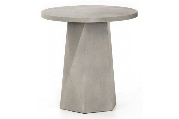 Large image of Four Hands Thayer Collection Grey Concrete Bowman Outdoor End Table - VTHY-039