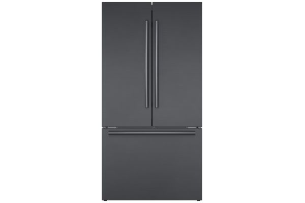 "Large image of Bosch 800 Series 36"" Black Stainless Steel Counter-Depth 3-Door Refrigerator - B36CT80SNB"