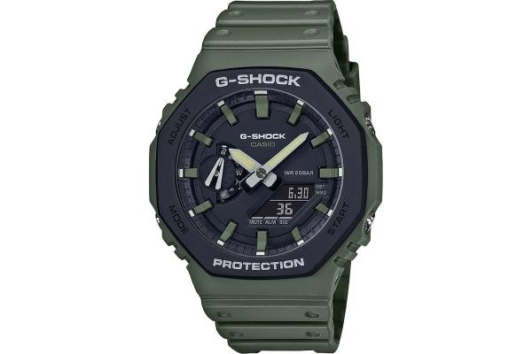 Large image of G-Shock Green/Black Analog-Digital Mens Watch - GA2100SU-3A