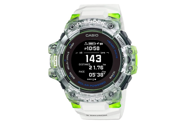 Large image of G-Shock G-Move White/Green Digital Mens Watch With Heart Rate Monitor - GBDH1000-7A9