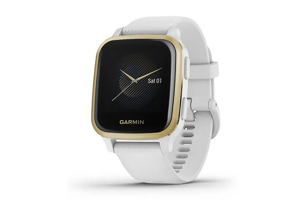 Large image of Garmin Venu Sq Light Gold Aluminum Bezel w/ White Case & Silicone Band Smartwatch - 010-02427-01