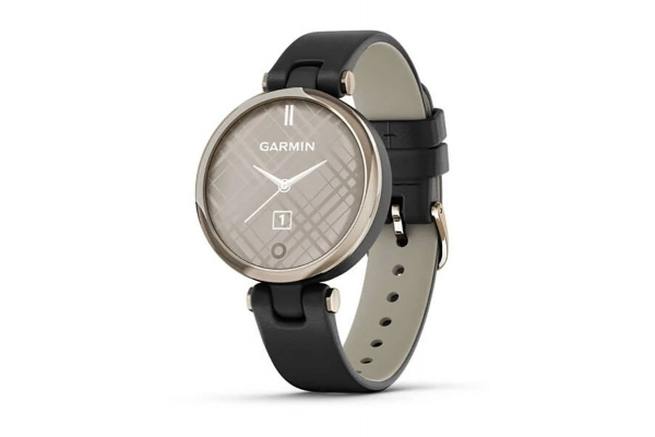 Large image of Garmin Lily Classic Cream Gold Bezel with Black Case and Italian Leather Band Smartwatch - 010-02384-A1