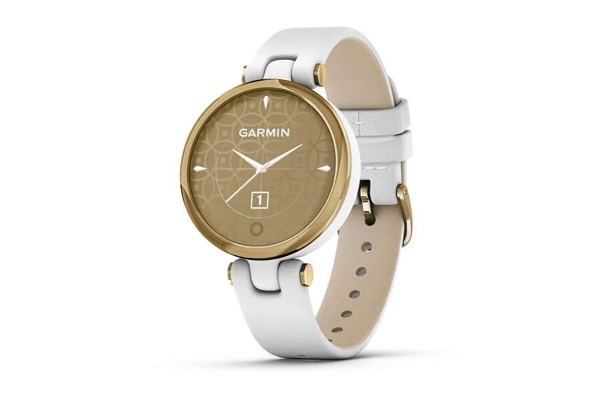 Large image of Garmin Lily Classic Light Gold Bezel with White Case and Italian Leather Band Smartwatch - 010-02384-A3