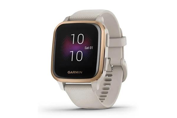 Large image of Garmin Venu Sq Music Edition Rose Gold Aluminum Bezel w/Light Sand Case & Silicone Band Smartwatch - 010-02426-01