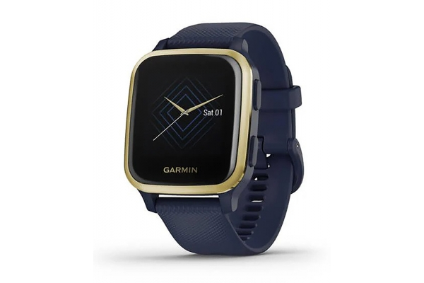 Large image of Garmin Venu Sq Music Edition Light Gold Aluminum Bezel w/Navy Case & Silicone Band Smartwatch - 010-02426-02