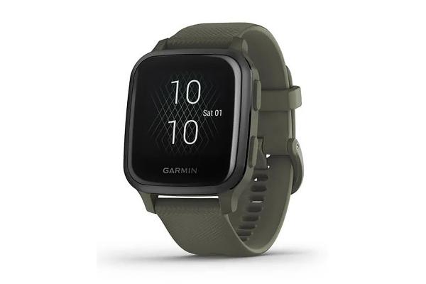 Large image of Garmin Venu Sq Music Edition Slate Aluminum Bezel w/Moss Case & Silicone Band Smartwatch - 010-02426-03