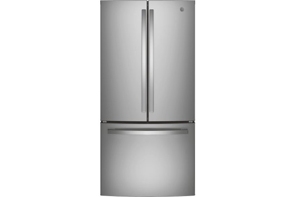 Large image of GE ENERGY STAR 18.6 Cu. Ft. Stainless Steel Counter-Depth French-Door Refrigerator - GWE19JSLSS