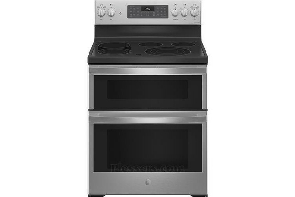 """Large image of GE Profile 30"""" Fingerprint Resistant Stainless Steel Smart Electric Double Oven Convection Range With No Preheat Air Fry - PB965YPFS"""