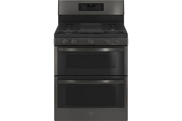 """Large image of GE Profile 30"""" Fingerprint Resistant Black Stainless Double Oven Gas Convection Range - PGB965BPTS"""
