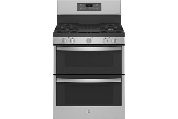 """Large image of GE Profile 30"""" Fingerprint Resistant Stainless Double Oven Gas Convection Range - PGB965YPFS"""