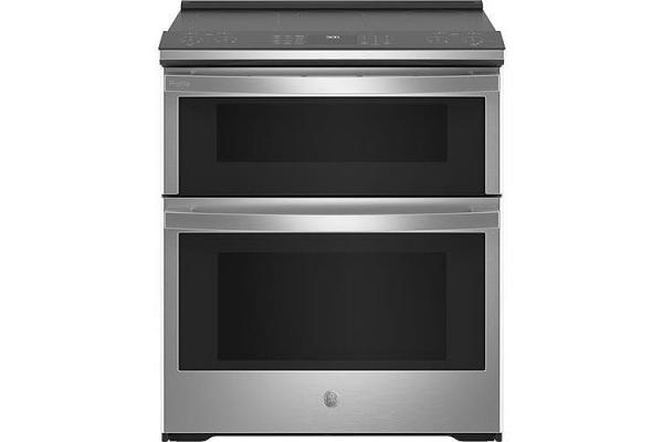 "Large image of GE Profile 30"" Smart Fingerprint Resistant Stainless Steel Slide-In Double Oven Electric Range - PS960YPFS"