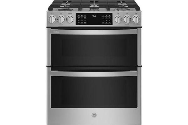 "Large image of GE Profile 30"" Fingerprint Resistant Stainless Steel Slide-In Double Oven Gas Range - PGS960YPFS"